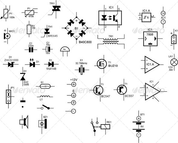 Unique Electronic Symbols And Components Festooning - Simple Wiring ...